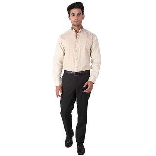 Warewell Mens Slim Fit Pure Cotton Fawn Shirt (FS2314-Fawn-40)