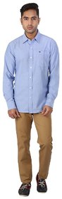 Warewell Mens Slim Fit Pure Cotton Blue Shirt