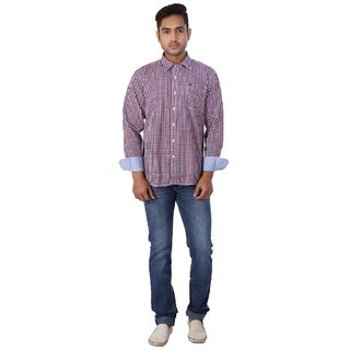 Warewell Mens Slim Fit Pure Cotton Red Shirt
