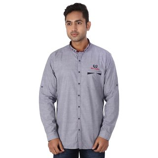 Warewell Mens Slim Fit Pure Cotton Grey Shirt