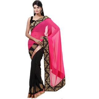 Varanga Gray Georgette Self Design Saree With Blouse