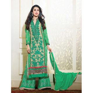 Thankar Green And Cream Embroidered Georgette Straight Suit