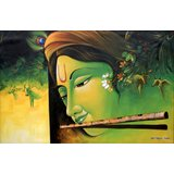 Musical Krishna - The Divine Music Printed Painting