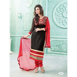 Manvaa Susurrous Black  Red Georgette Embroidered Dress MaterialKF2003