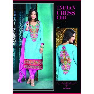 Manvaa Pleasing Blue  Pink Semi-Cotton Embroidered Dress MaterialKFL8103