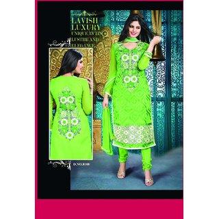 Manvaa Stylish Green Semi-Cotton Embroidered Unstitched Straight Salwar SuitKFL8108