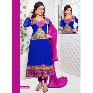 Manvaa Dulcet Blue  Pink Chiffon Embroidered Unstitched Anarkali SuitKGD03