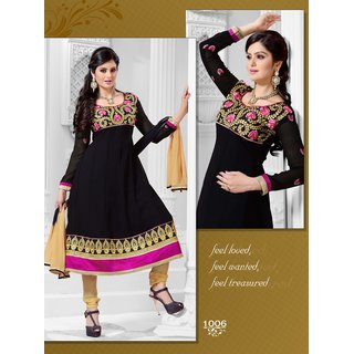 Manvaa Conflate Black  Beige Georgette Embroidered Unstitched Anarkali SuitKGLS1006