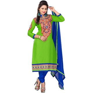 Manvaa Conflate Green  Blue Semi-Cotton Fully Hand Work Dress MaterialMNVKMN21007