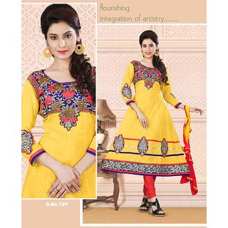 Manvaa Lissome Yellow  Red Semi-Cotton Fully Hand Work Unstitched Anarkali SuitKNHK109