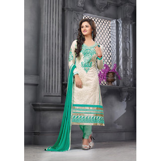 Manvaa Imbrication Beige  Green Semi-Cotton Embroidered Unstitched Churidar SuitRD29004