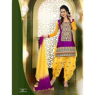 Manvaa Zesty Maroon  Yellow Semi-Cotton Embroidered Unstitched Patiyala SuitOMCMS201