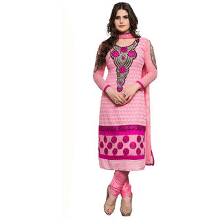 Manvaa Evocative Classy Pink Shantoon Embroidered Dress MaterialZN2102