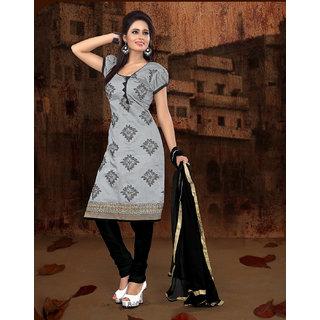 Manvaa Seraglio Classy Grey Chanderi Embroidered Dress MaterialPMNVCHD1011
