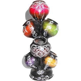terracotta  matka theme flower vase cum pan stand