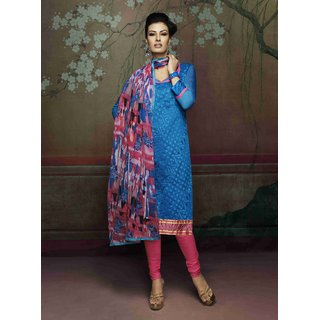 Manvaa Awesome Blue Silk Embroidered Dress MaterialPMNV4DRC51003
