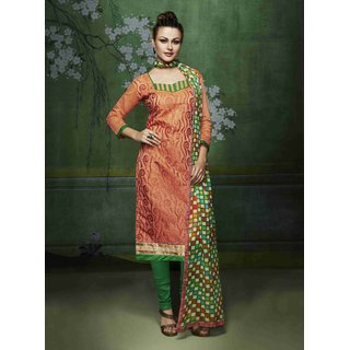 Manvaa Dashing Orange Silk Embroidered Dress MaterialPMNV4DRC51016