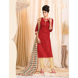 Manvaa Stuning Pretty Red Silk Embroidered Dress MaterialPMNV2NVY1105