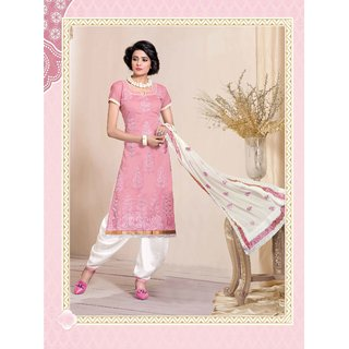 Manvaa Fascinating Pink Silk Embroidered Dress MaterialPMNV2NVY1114