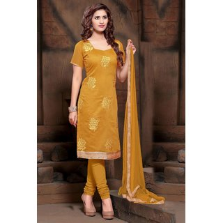 Manvaa Lissome Yellow Silk Embroidered Unstitched Straight Salwar SuitPMNVRSL2007
