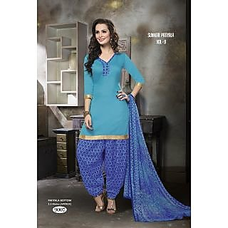 Manvaa Lilt Blue Crepe Printed Unstitched Patiyala SuitRSNH9007