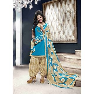 Manvaa Chatoyant Lovely Blue Semi-Cotton Printed Unstitched Patiyala SuitRSP10001