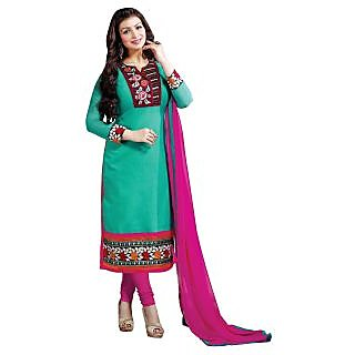 Manvaa Petrichor Classy Green Chanderi Embroidered Dress MaterialSMFDG5302