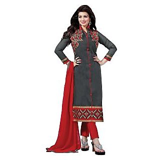 Manvaa Redolent Grey Chanderi Embroidered Dress MaterialSMFDG5309