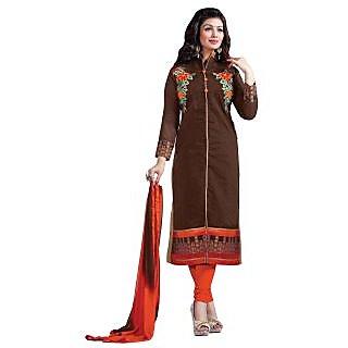 Manvaa Scintilla Brown Chanderi Embroidered Dress MaterialSMFDG5312