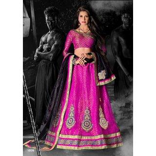 Manvaa Demesne Pink  black Net Lehenga CholiALS521205