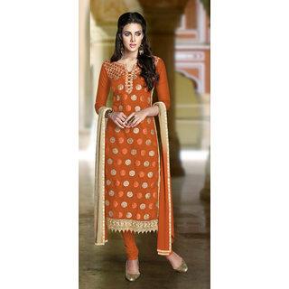 Manvaa Orange Chanderi Hand Work Unstitched Churidar Suit DFANG11009