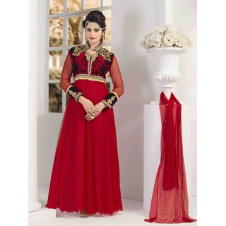 Manvaa Lassitude Red Net Embroidered Designer GownKFG1101