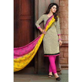 Manvaa Cream  Black Chanderi Hand Work Unstitched Churidar Suit KTRL4009B