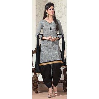 Manvaa Grey Silk Hand Work Unstitched Patiyala Suit MFAG4205