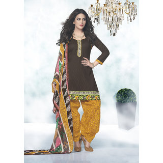 Manvaa Brown Jacquard Hand Work Unstitched Patiyala Suit RPJSP22006