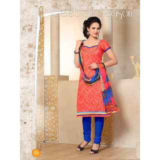 Manvaa Orange Chanderi Hand Work Unstitched Churidar Suit SSKV41008