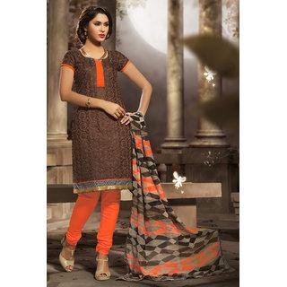 Manvaa Brown Chanderi Hand Work Unstitched Churidar Suit VSIDC339012