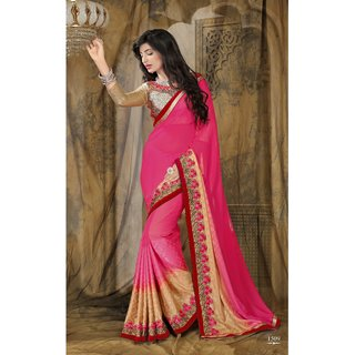 Manvaa Surreptitious Pink Jacquard Embroidered SareeFNST1509
