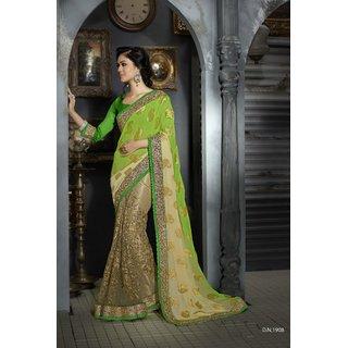 Manvaa Incipient Green  Beige Net Embroidered SareeGC1908