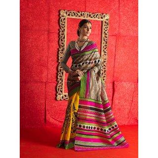 Manvaa Preety Multicolour Silk Designer Printed SareeGG8011