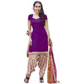 Florence Purple Cotton Printed Salwar Suit Dress Material (Unstitched)