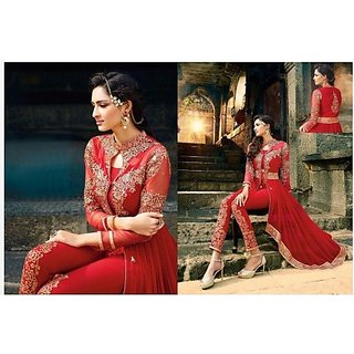 Red Designer Anarkali Salwar Kameez