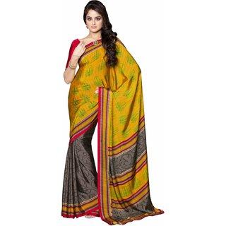 Manvaa Penumbra Yellow With Brown Silk Designer Printed SareeKR1058