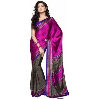 Manvaa Pastiche Pink With Brown Silk Designer Printed SareeKR1059