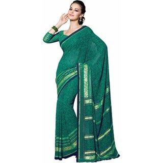 Manvaa Pyrrhic Green Georgette Designer Printed SareeKR1063