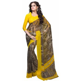 Manvaa Susurrous Grey With Yellow Georgette Designer Printed SareeKR1078