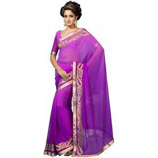 Manvaa Evocative Purple Georgette Embroidered SareeKR1121