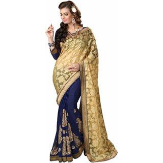Manvaa Chatoyant Blue  Beige Jacquard Embroidered SareeKR1194