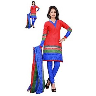 Florence Red Polycotton Printed Salwar Suit Dress Material (Unstitched)
