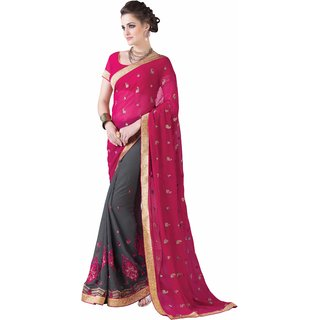 Manvaa Mellifluous Pink  Grey Georgette Embroidered SareeKR1220